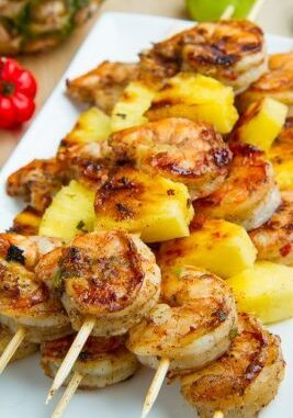 Some ticks of grill shrimps