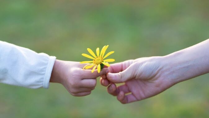 A child and adult holding a flower together