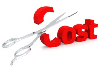"""A scissors cutting """"cost"""" word"""