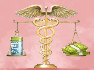 A scale weight in balance of prescription and money