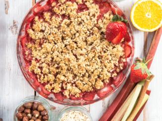 A dish of strawberry rhubarb crisp