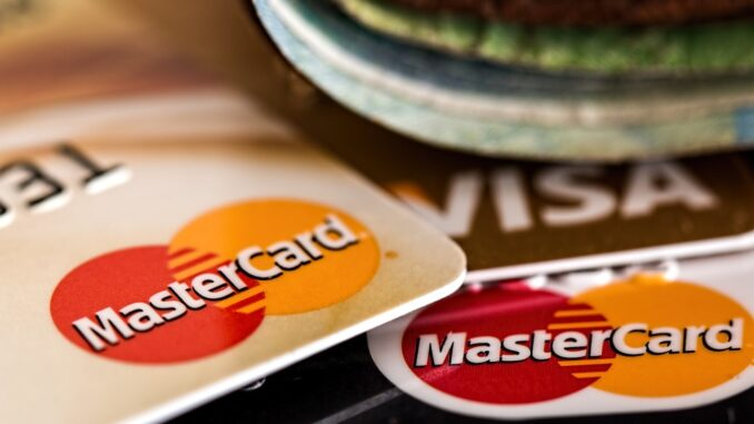 Some bank cards with master and visa
