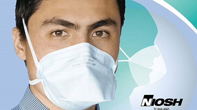 A poster of FDA-NIOSH with a man wearing mask