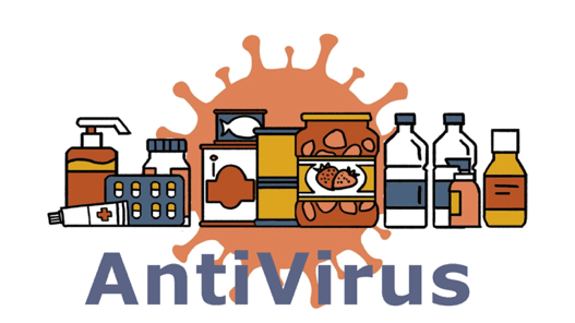 """Some bottles with phase of """"anitVirus"""" and virus background"""