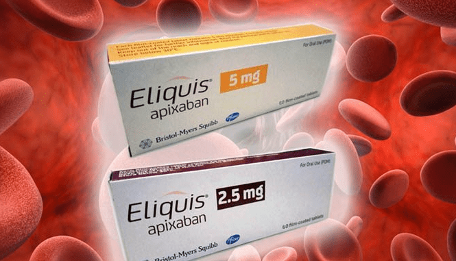 Generic Eliquis boxes images with 2.5mg and 5mg.