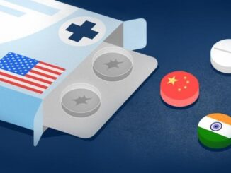 A medication box with American flag and some pills with China and Iran 's flag