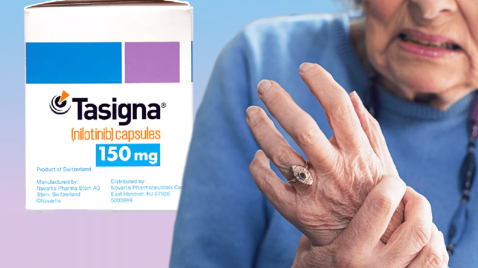 The box of Tasigna 150 mg and the woman has hand pain.