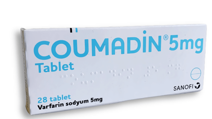 The box of Coumadin 5mg with 28 tablets.