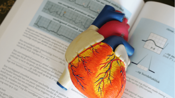 Generic_Xarelto- a model of heart laying above a book