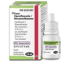 A box and bottle of Taro-Ciprofloxacin 7.5mL