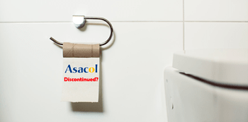 """The toilet paper with """"Asacol Discontinued"""" word."""